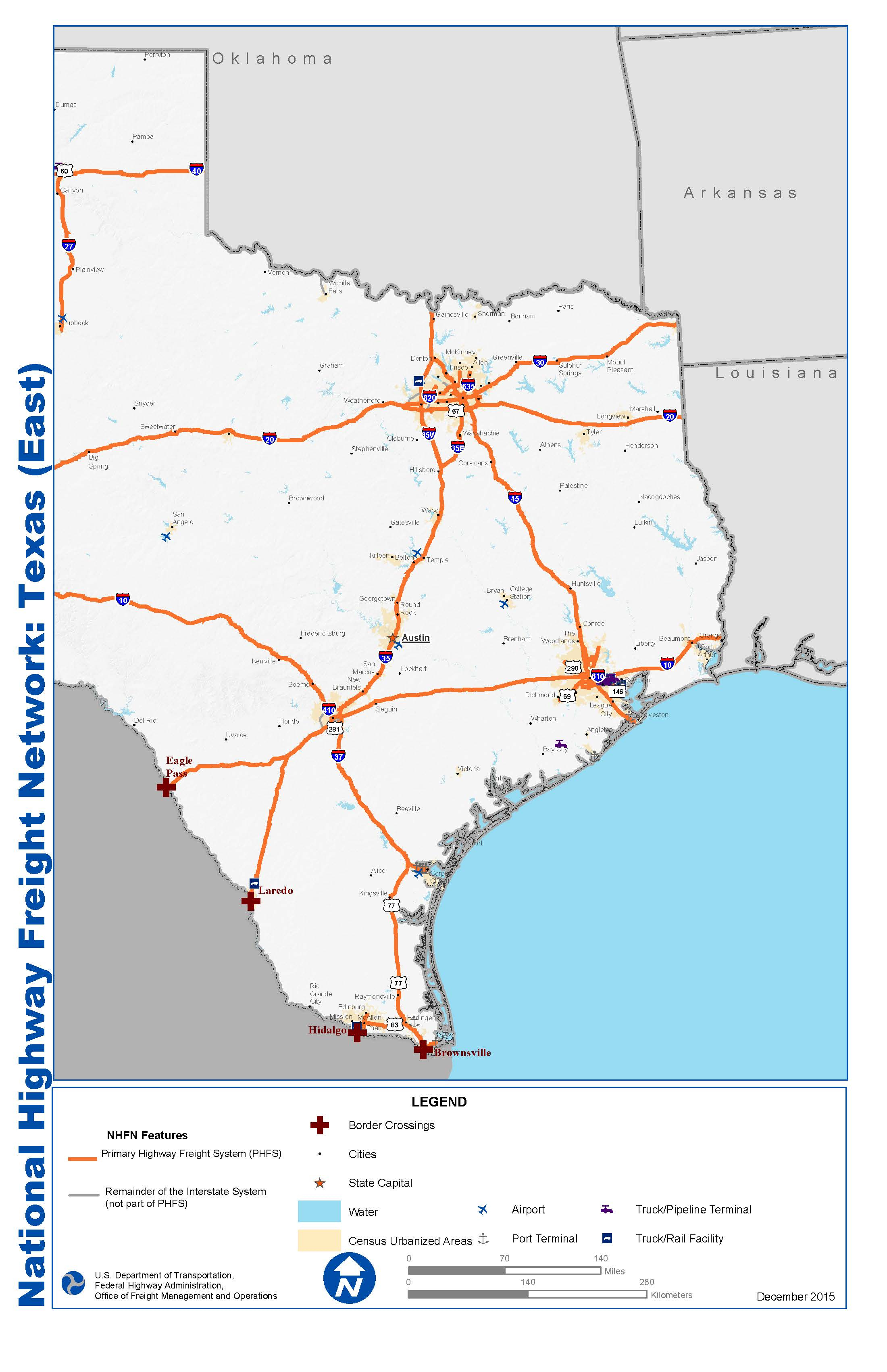 National Highway Freight Network Map And Tables For Texas - Fhwa - Map Of I 40 In Texas
