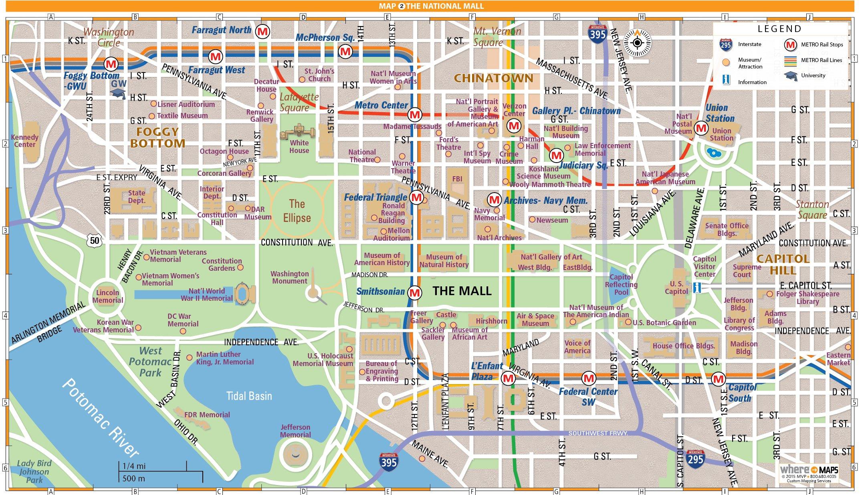 National Mall Map In Washington, D.c. | Wheretraveler - Printable Street Map Of Washington Dc