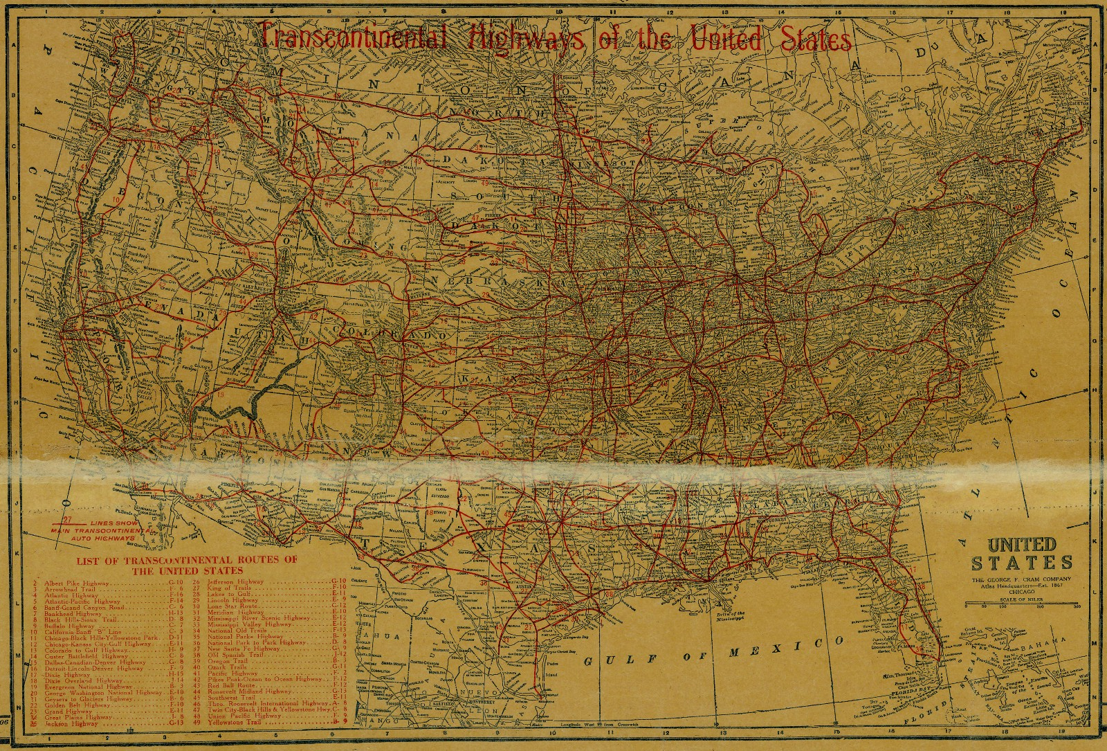National Map Company's Highway Map Of Texas, 1920 – Save Texas - Map Of Texas Highways And Interstates