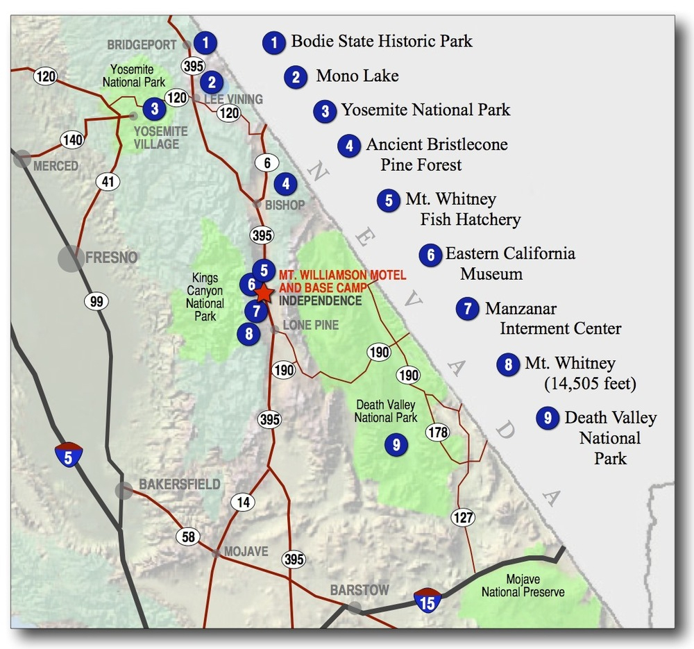 Nearby Map Of California Springs Mt Whitney California Map Google - Lone Pine California Map