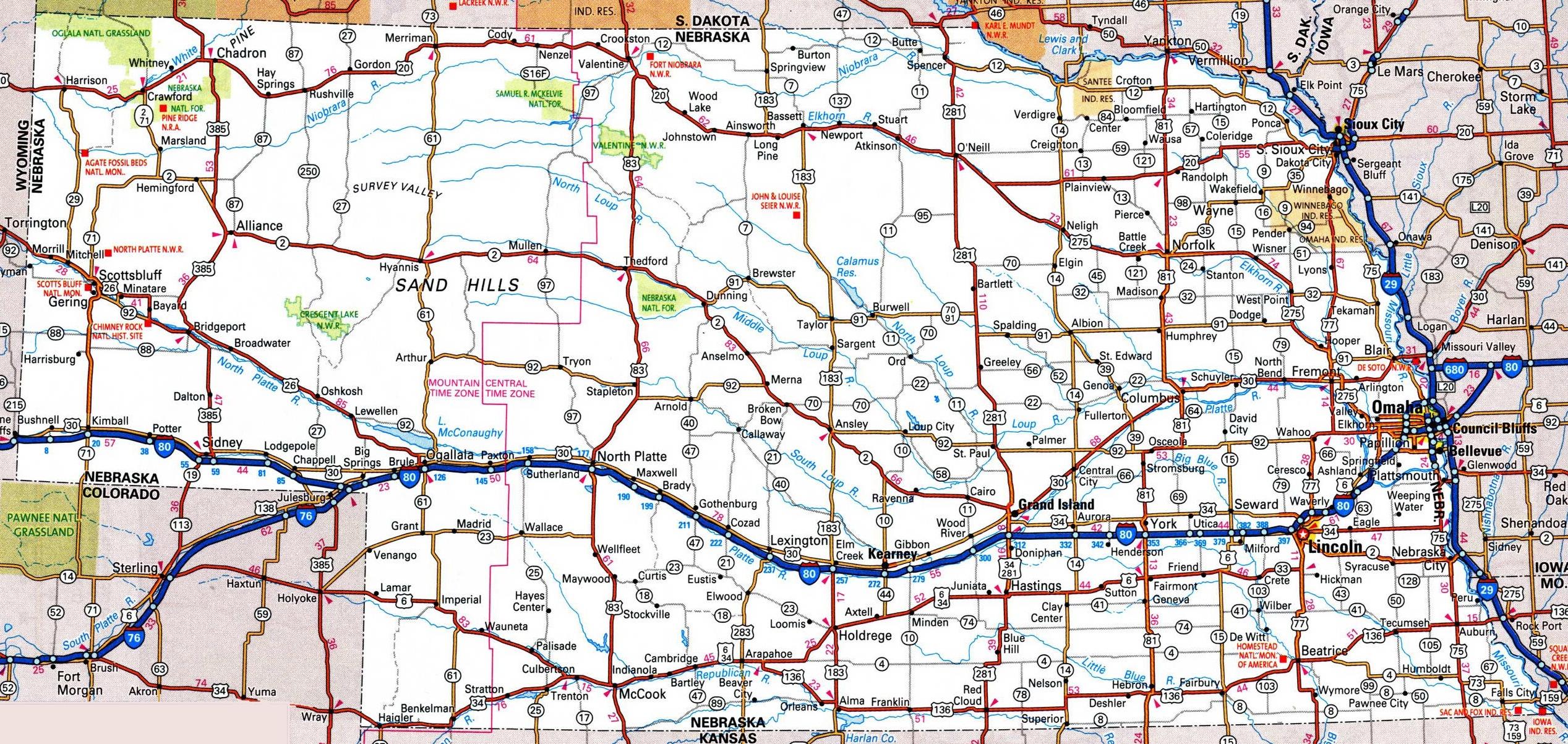 Nebraska Road Map - Free Printable Driving Maps