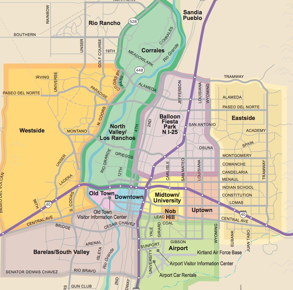 Neighborhood Guide - Printable Map Of Albuquerque