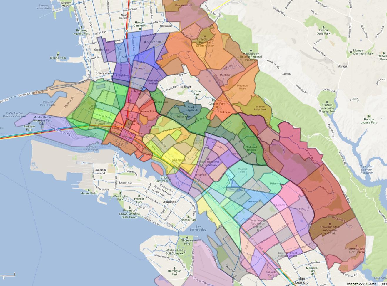 Neighborhoods Districts Maps Of California Map Of Oakland California - Oakland California Map