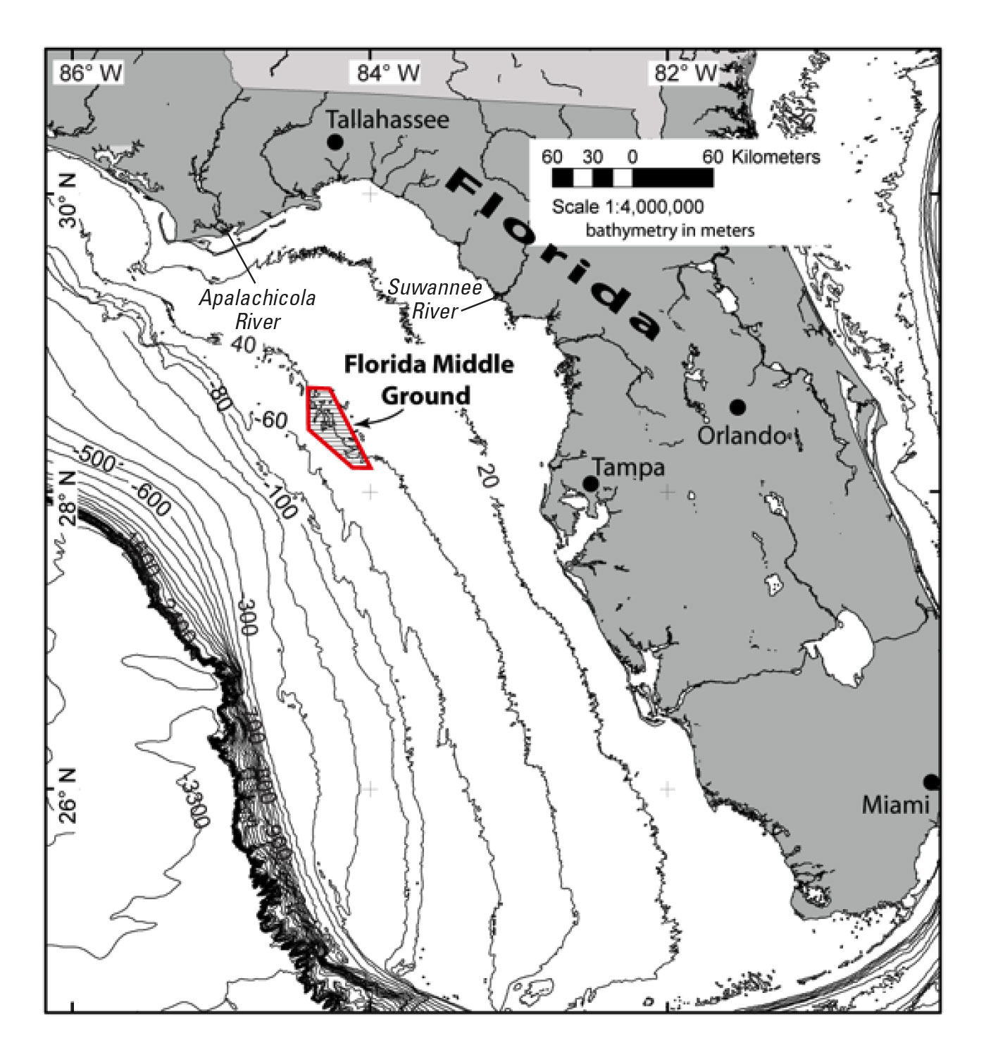 New Geologic Explanation For The Florida Middle Ground In The Gulf - Water Depth Map Florida