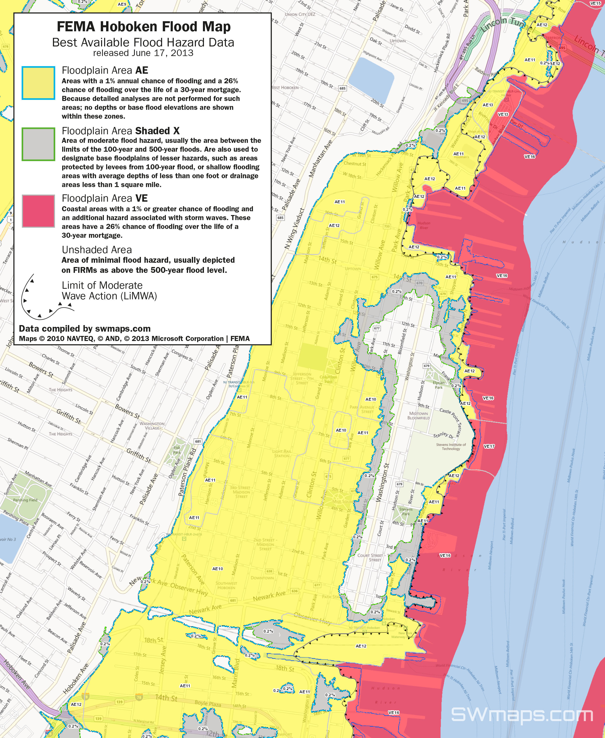 New Hoboken Flood Map: Fema Best Available Flood Hazard Data - Fema Flood Zone Map Florida