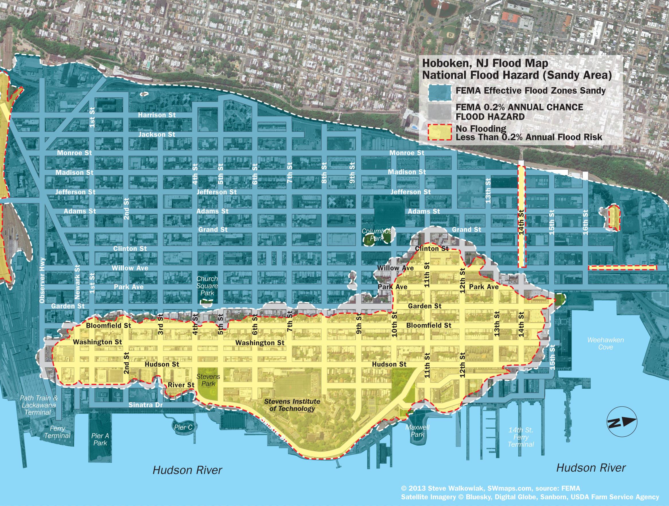New Hoboken Flood Map With Water Levels, Post Hurricane Sandy - Fema Flood Zone Map Florida