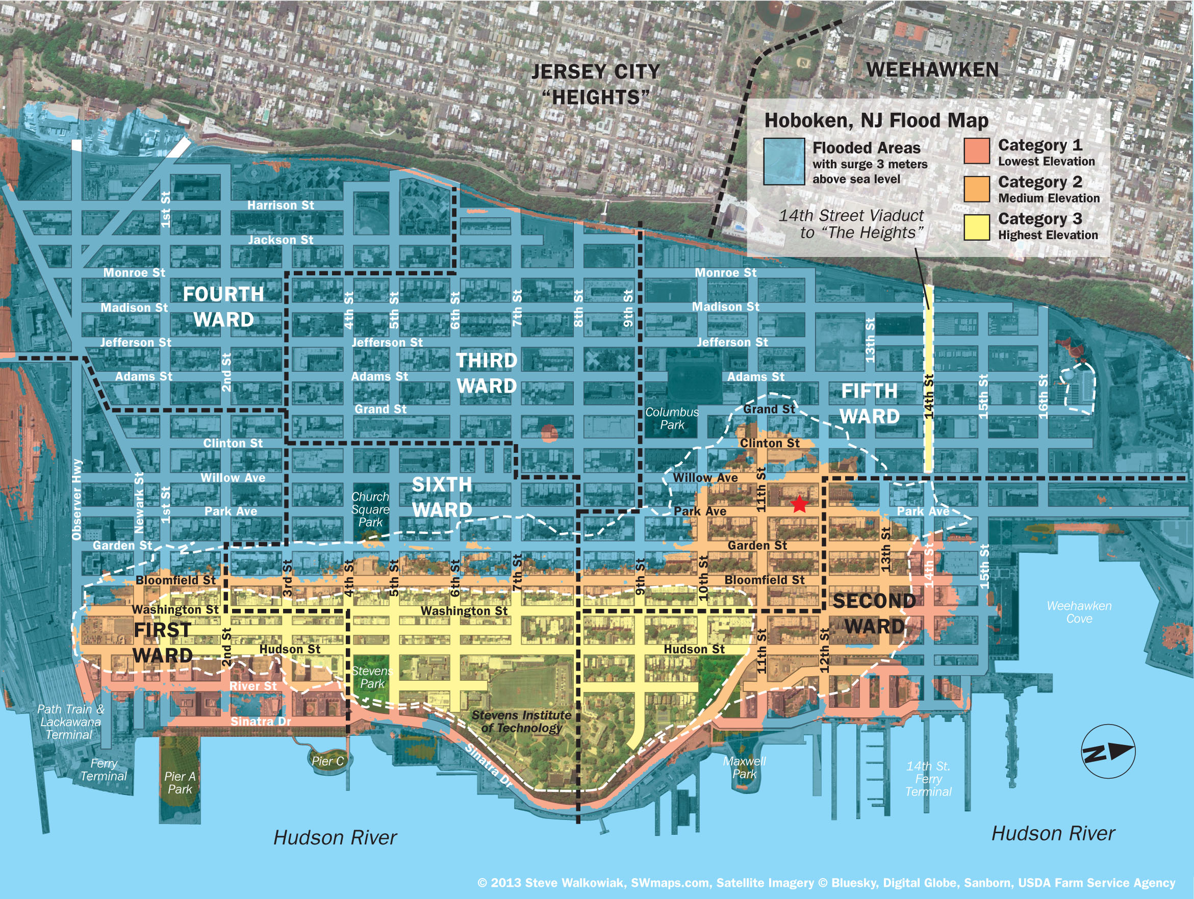 New Hoboken Flood Map With Water Levels, Post Hurricane Sandy - Flood Plain Map Florida