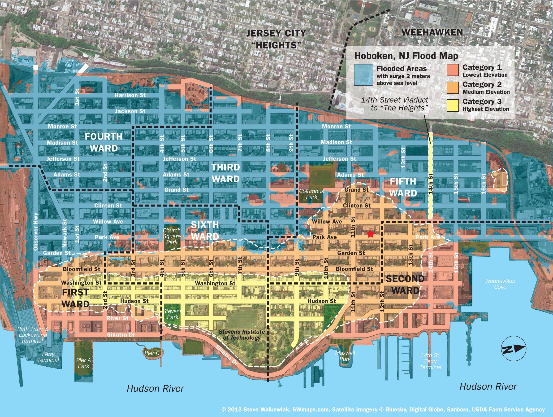 New Hoboken Flood Map With Water Levels, Post Hurricane Sandy - Florida Flood Plain Map
