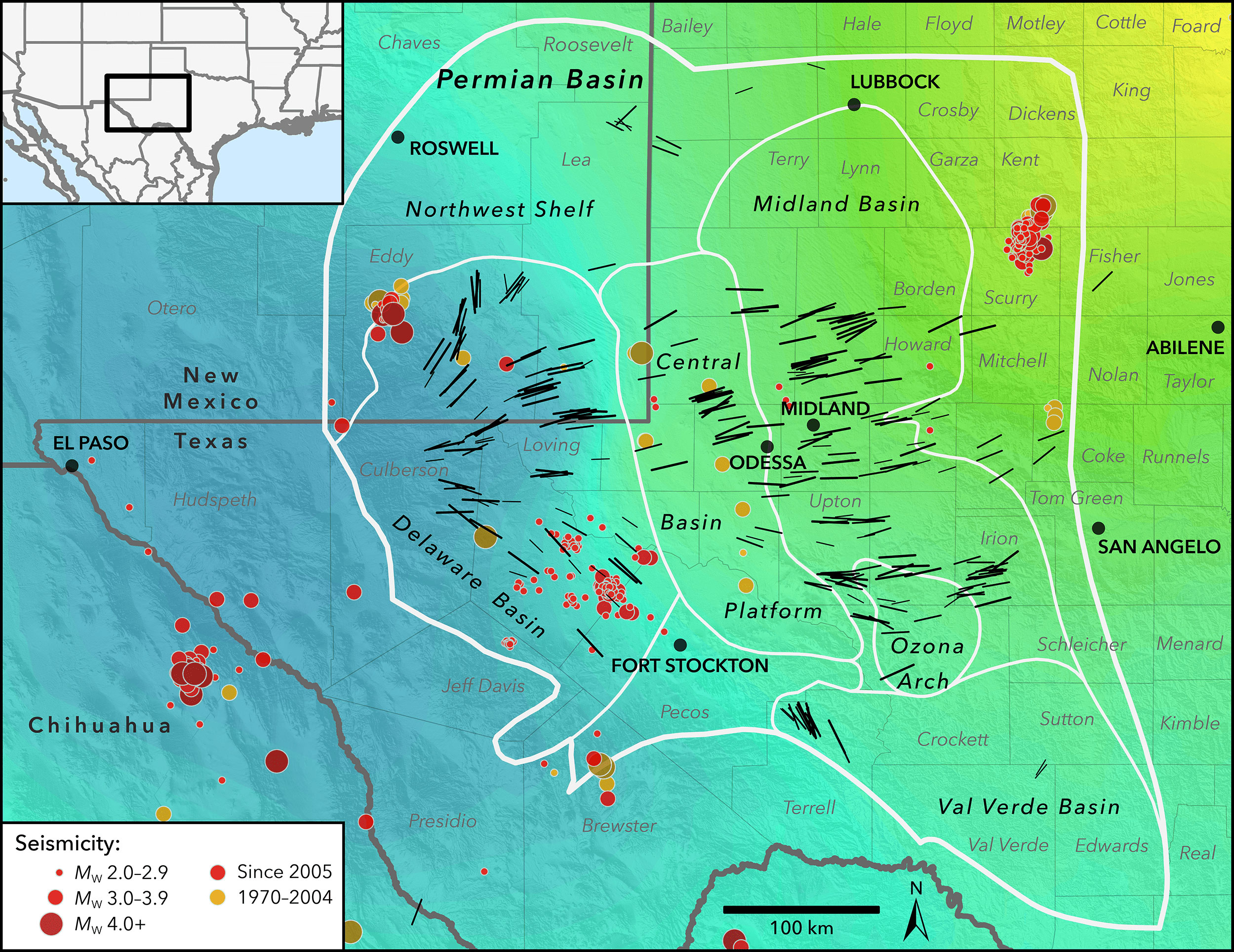 New Map Profiles Induced Earthquake Risk | Stanford News - Texas Map Directions