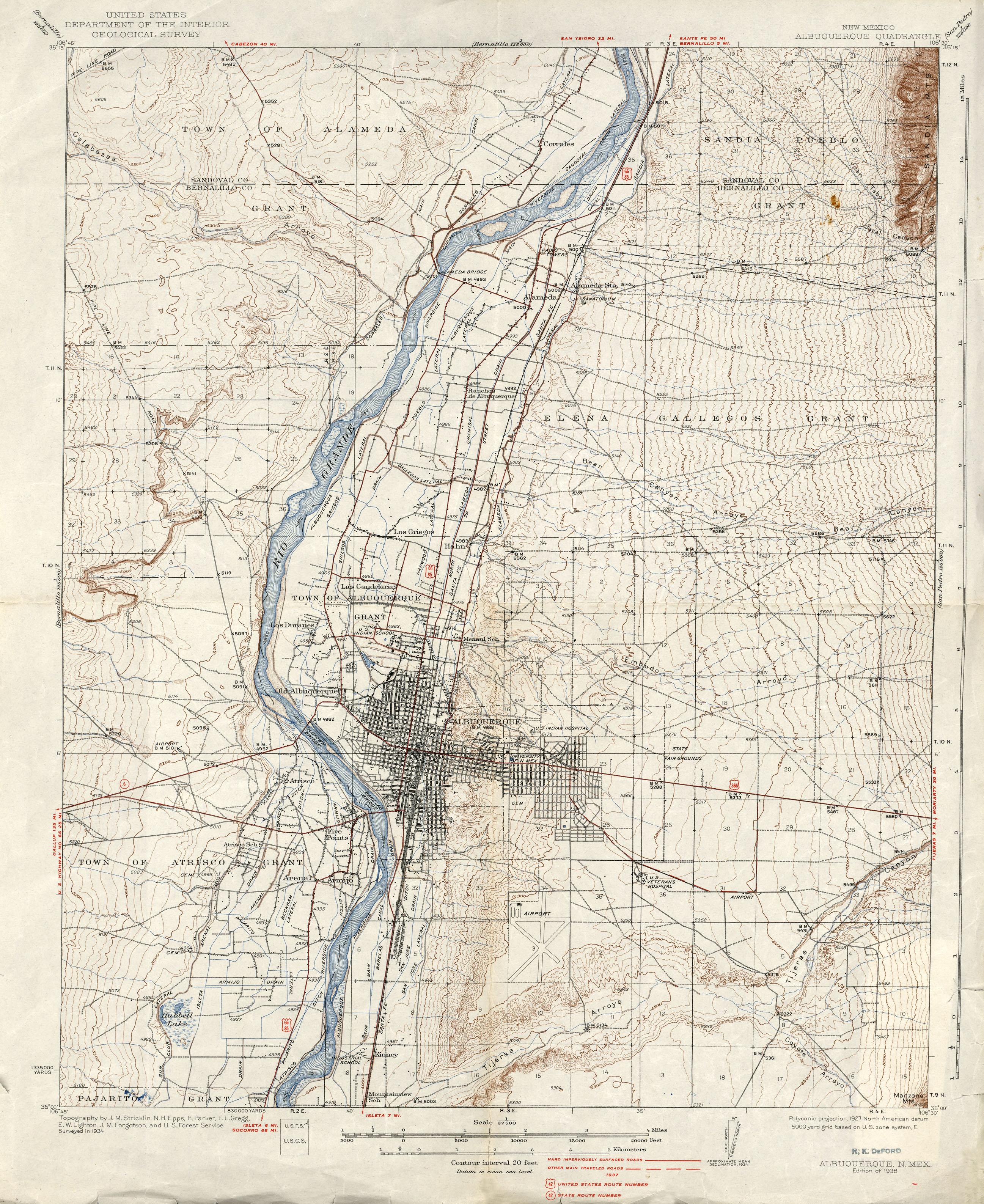 New Mexico Historical Topographic Maps - Perry-Castañeda Map - Printable Map Of Albuquerque