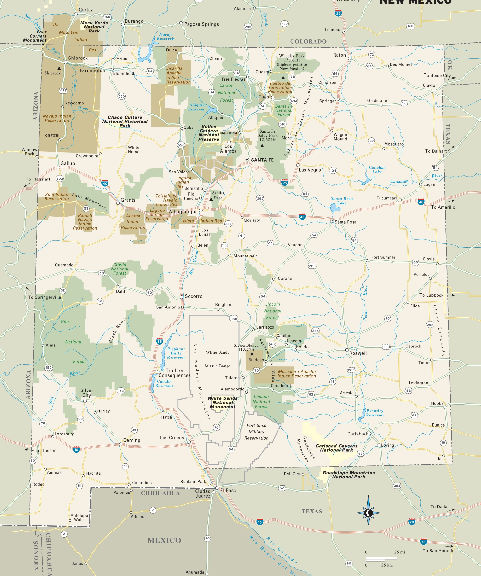New Mexico National Parks, Monuments And Forests Map - National Parks In Texas Map