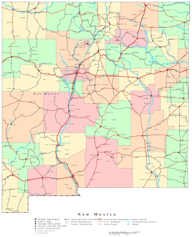 New Mexico Printable Map - Texas New Mexico Map