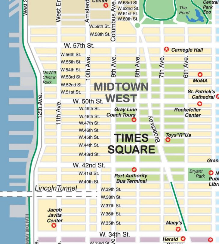Printable Street Map Of Midtown Manhattan