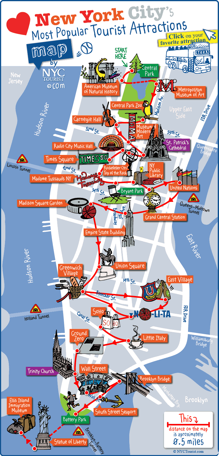 New York City Most Popular Attractions Map - Printable Walking Map Of Manhattan