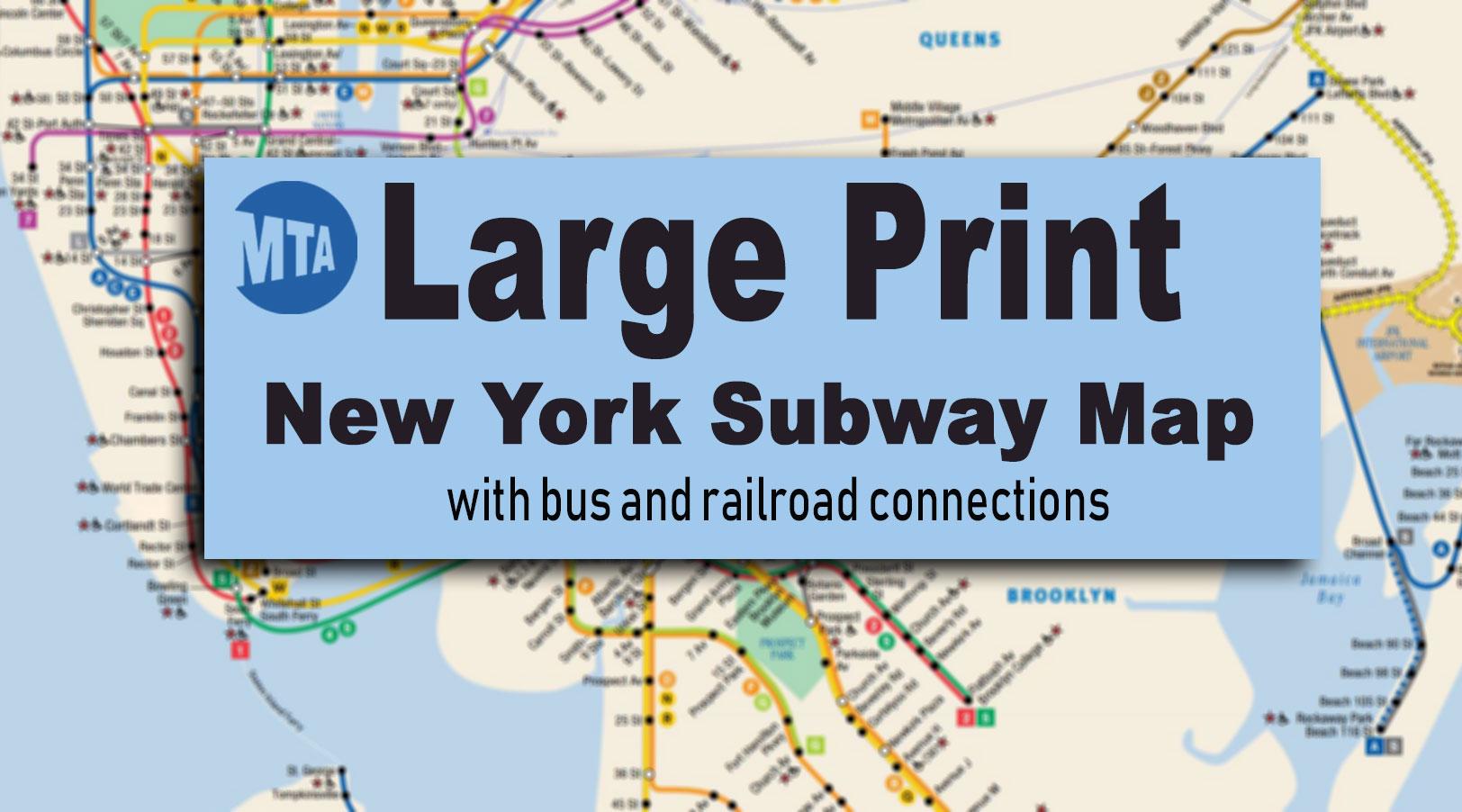 New York City Subway Map For Large Print Viewing And Printing - Printable Nyc Subway Map