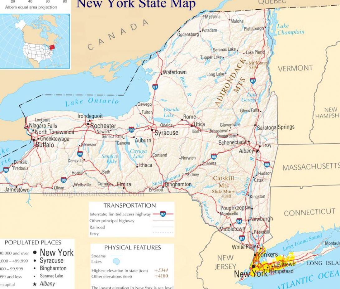 New York State County Maps And Travel Information | Download Free - Road Map Of New York State Printable