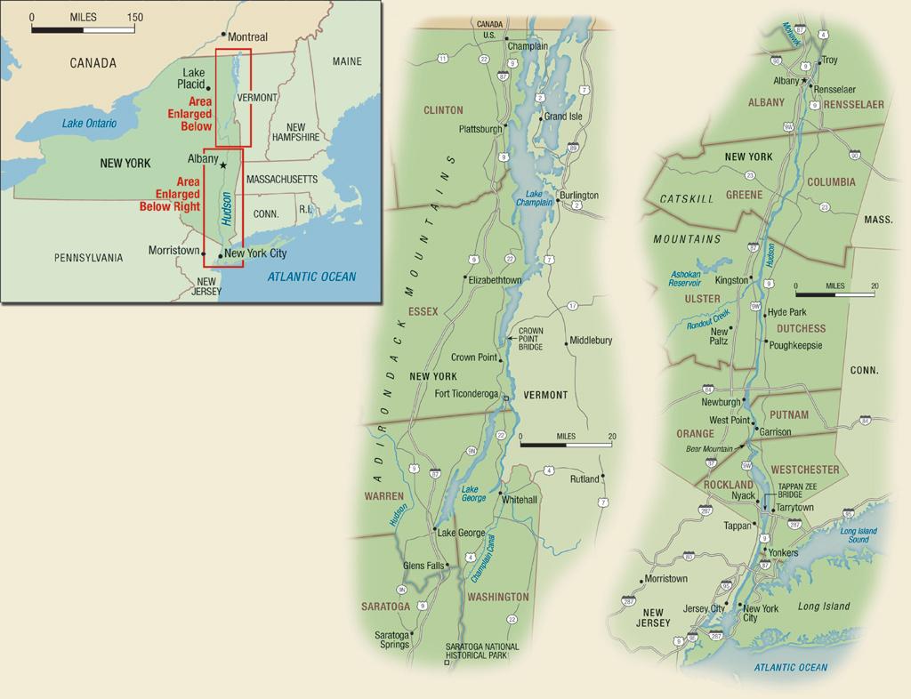 New York's Hudson River & Lake Champlain Region Travel Guide - Hudson Florida Map