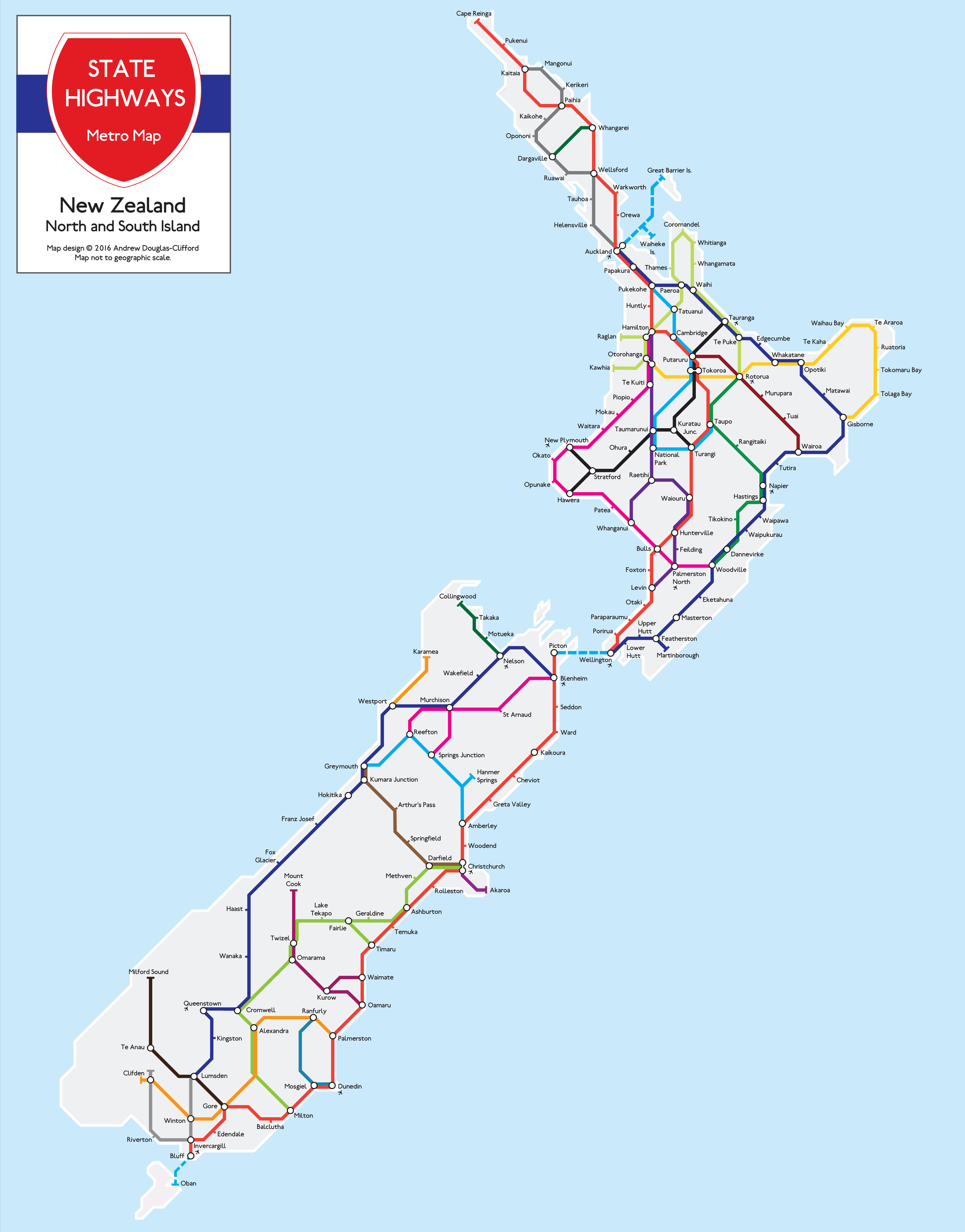New Zealand State Highway Metro Map Print | The Map Kiwi - New Zealand North Island Map Printable