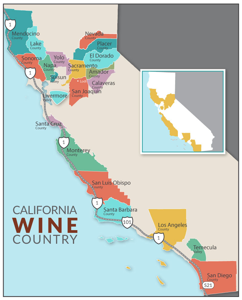 Newer Wine Country Map With Image California Wine Appellation Map - Sonoma Wine Country Map California
