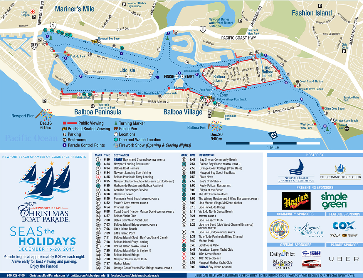Newport Beach Christmas Boat Parade - California Beaches - Newport California Map