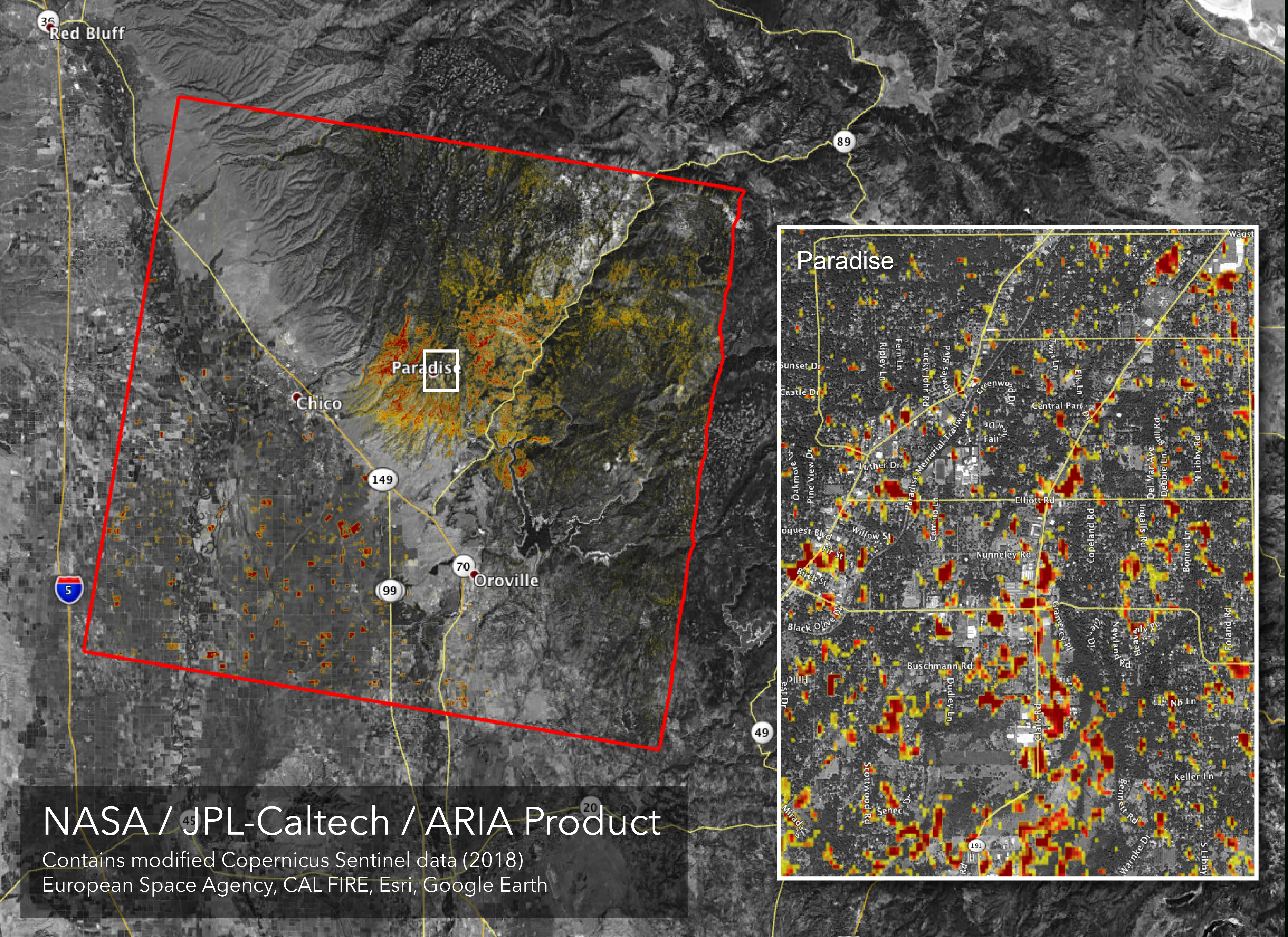 News | Updated Nasa Damage Map Of Camp Fire From Space - Map Of California Fire Damage