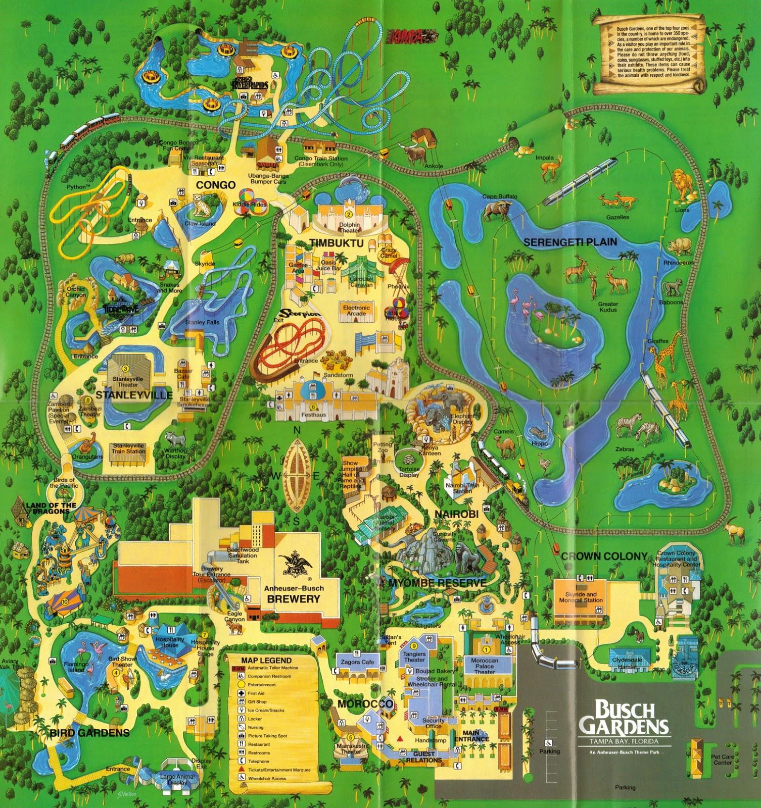 Newsplusnotes: From The Vault: Busch Gardens Tampa 1995 Map - Florida Busch Gardens Map