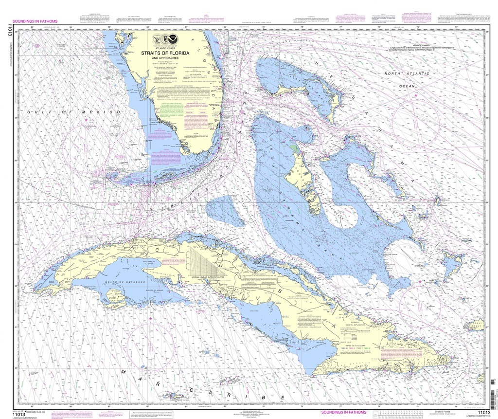 Noaa Chart 11013 Straits Of Florida And Approaches - Nautical Maps Florida