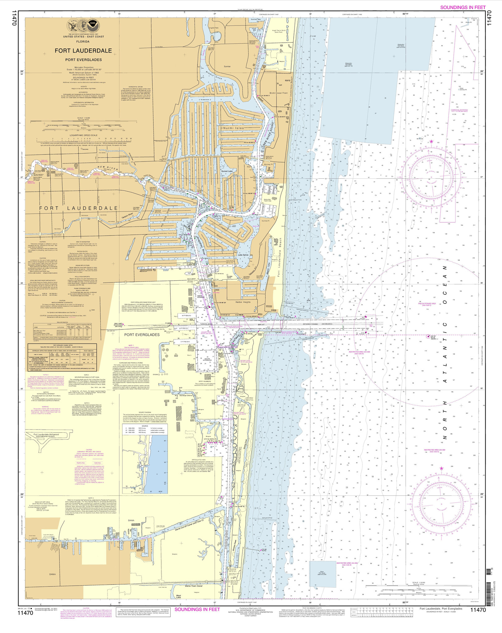 Noaa Chart 11470 Fort Lauderdale Port Everglades - Port Everglades Florida Map