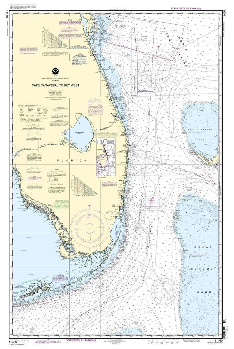 Noaa Nautical Chart 11460: Cape Canaveral To Key West   Chart - Nautical Maps Florida