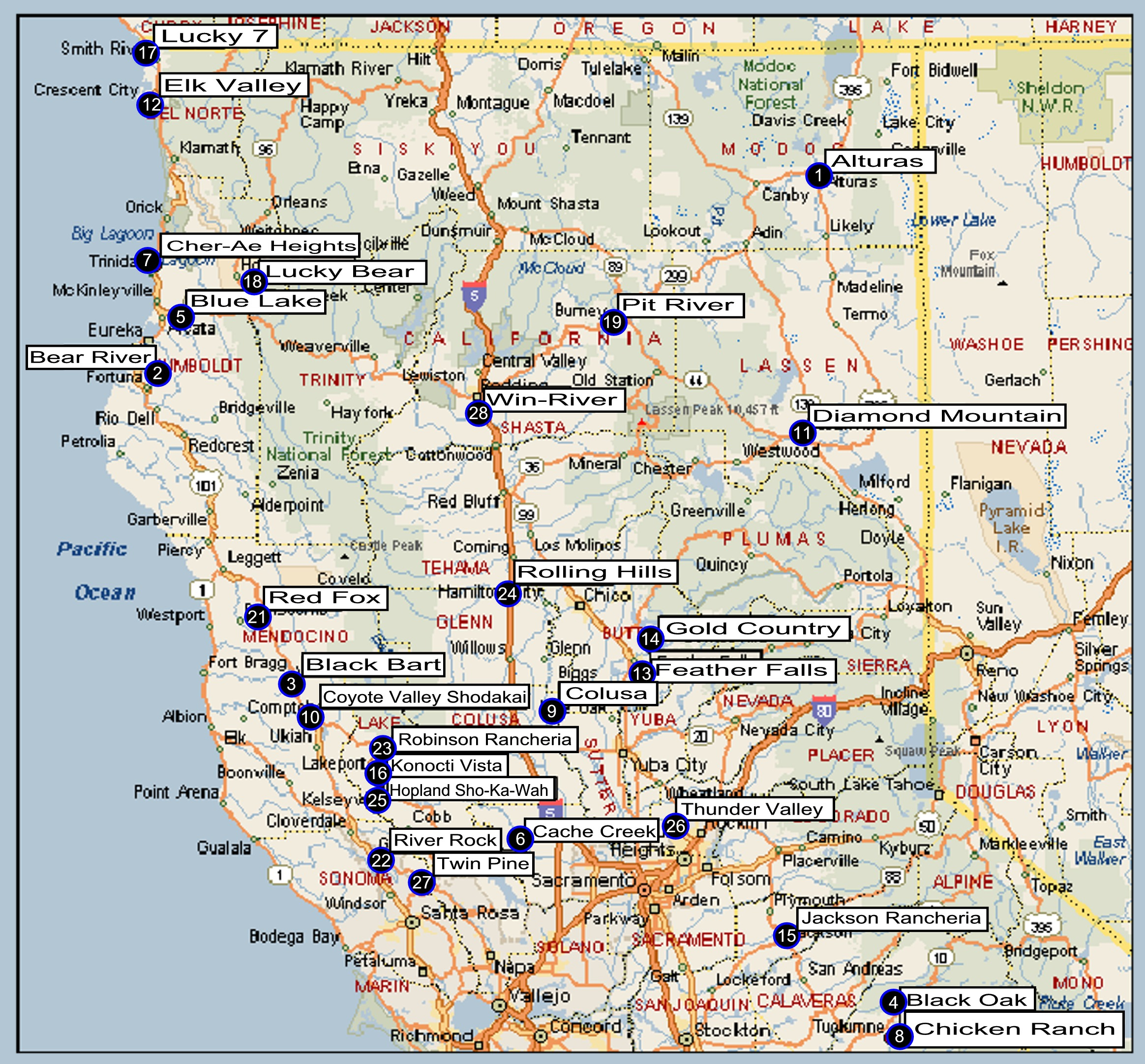Norcal Map California State Map Northern California Casino Map - Casinos In California Map