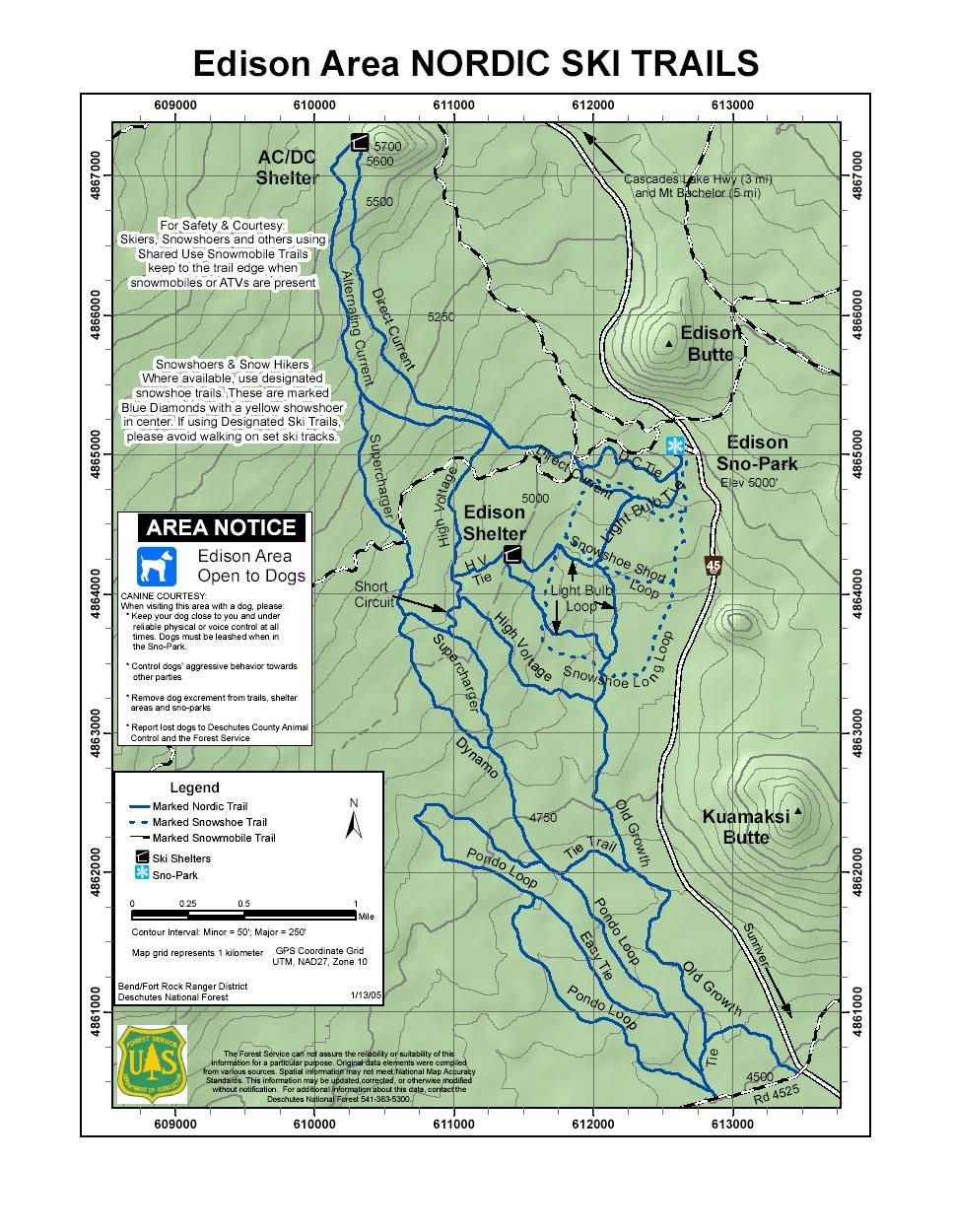 Nordic And Snowshoe Trails Near Bend, Oregon | Printable Maps - Printable Map Of Bend Or