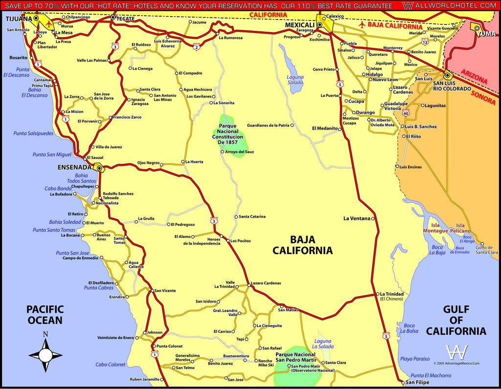 North Baja California - Maplets - Baja California Norte Map