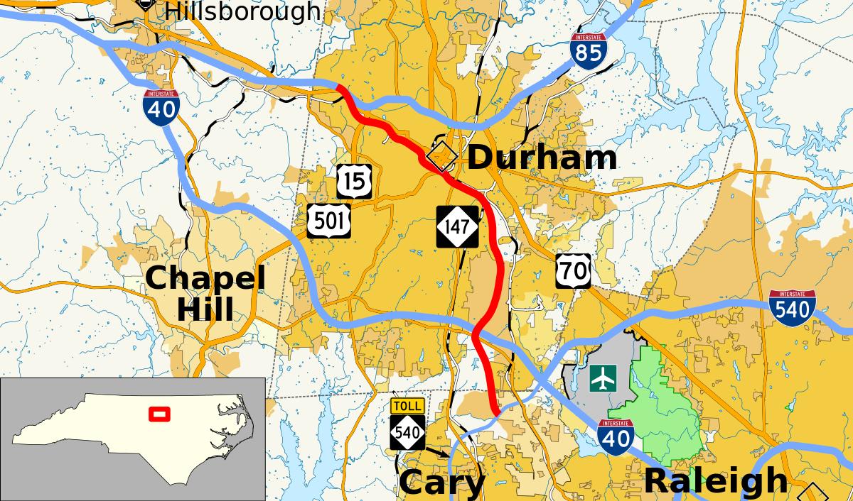 North Carolina Highway 147 - Wikipedia - Printable Map Of Raleigh Nc
