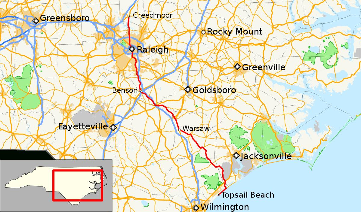 North Carolina Highway 50 - Wikipedia - Printable Street Map Of Greenville Nc