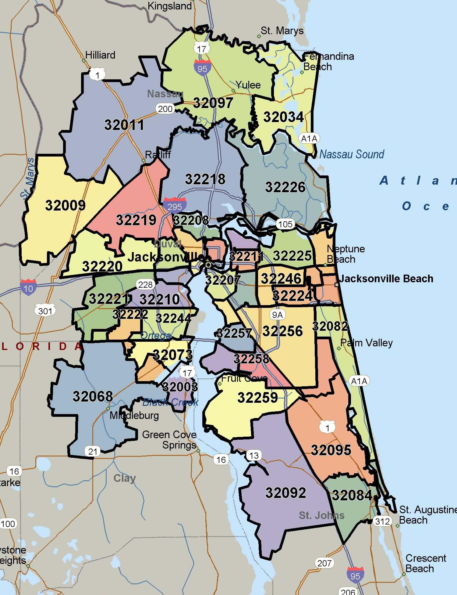 North Florida Zip Code Map And Travel Information   Download Free - Florida North Map