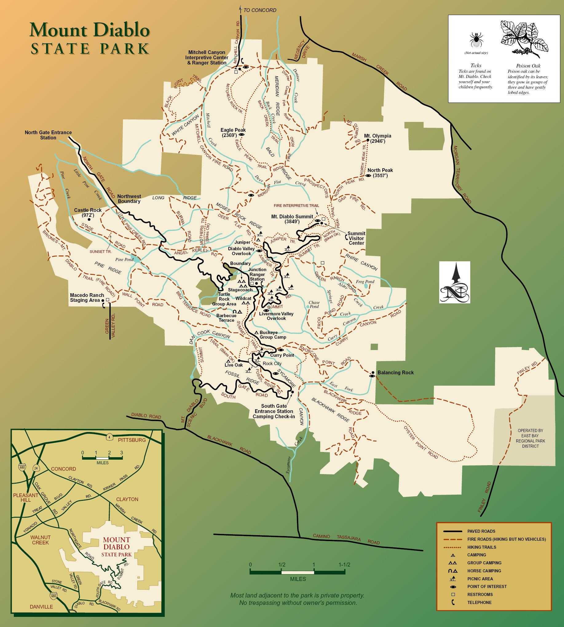North Peak At Mt. Diablo State Park, Ca - Indi Nomads - Northern California State Parks Map