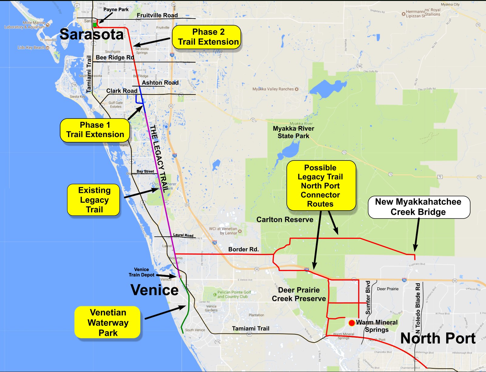 North Port Connectors | Friends Of The Legacy Trail - Where Is North Port Florida On A Map