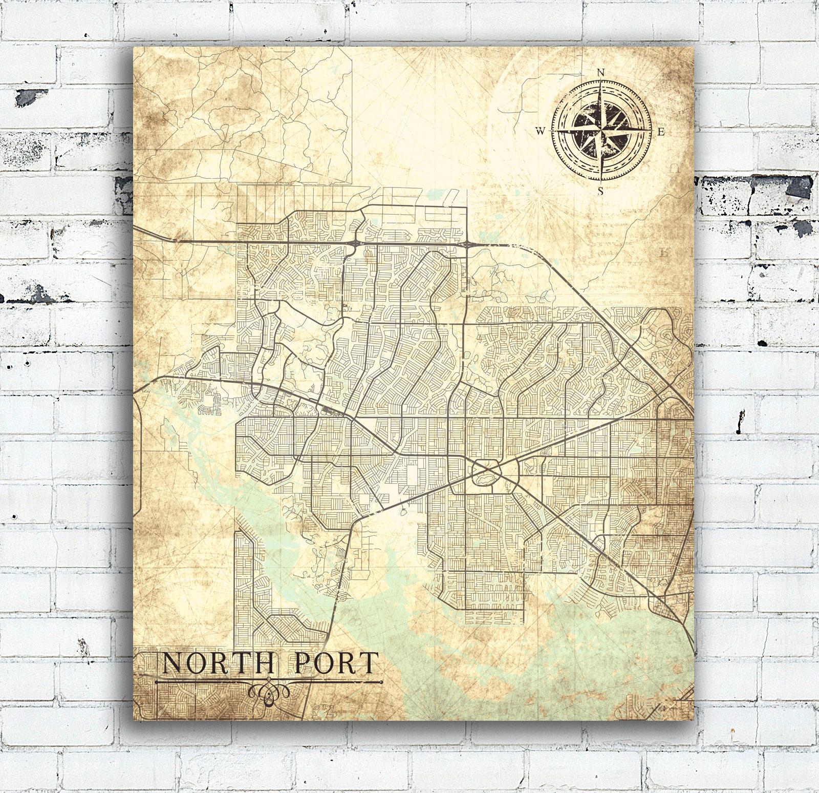 North Port Fl Canvas Print Florida Fl Vintage Map North Port Fl City - North Port Florida Map