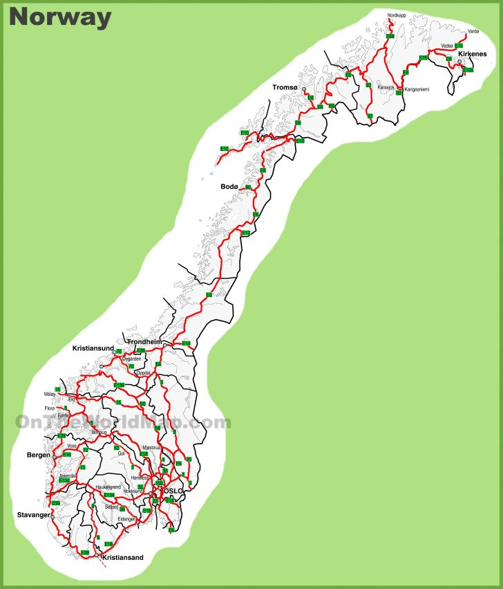 Printable Map Of Norway