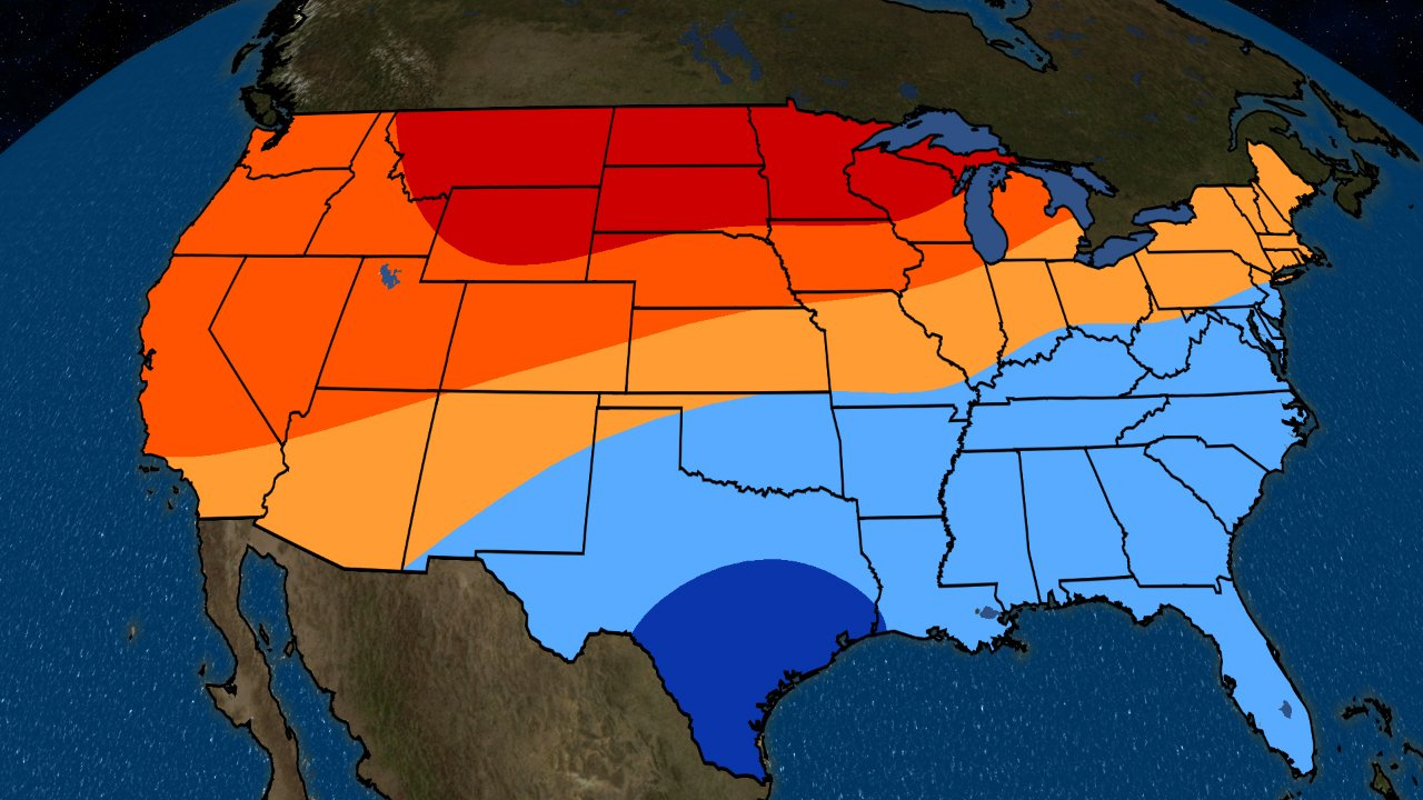 November To January 2019 Temperature Outlook: Mild In The North - Florida Weather Map With Temperatures