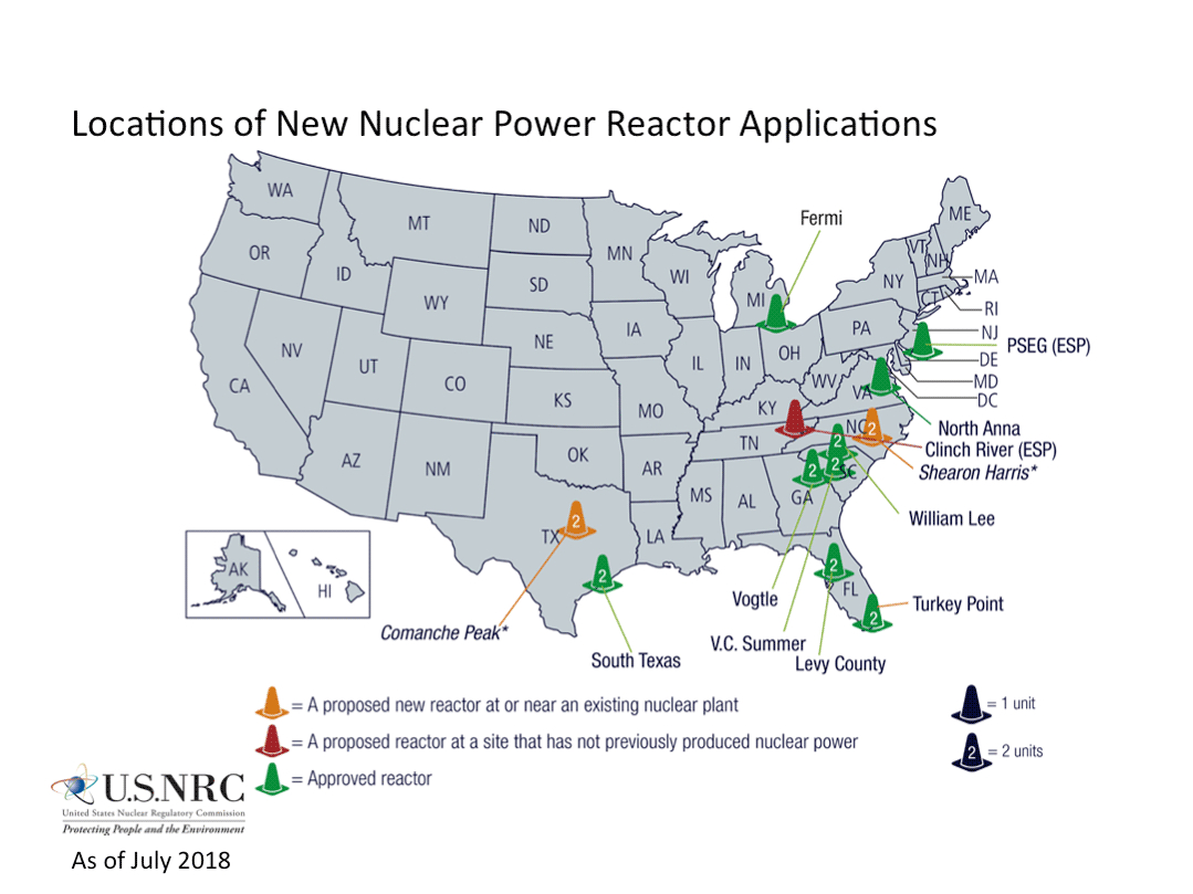 Nrc: Location Of New Nuclear Power Reactor Applications - Nuclear Power Plants In Texas Map