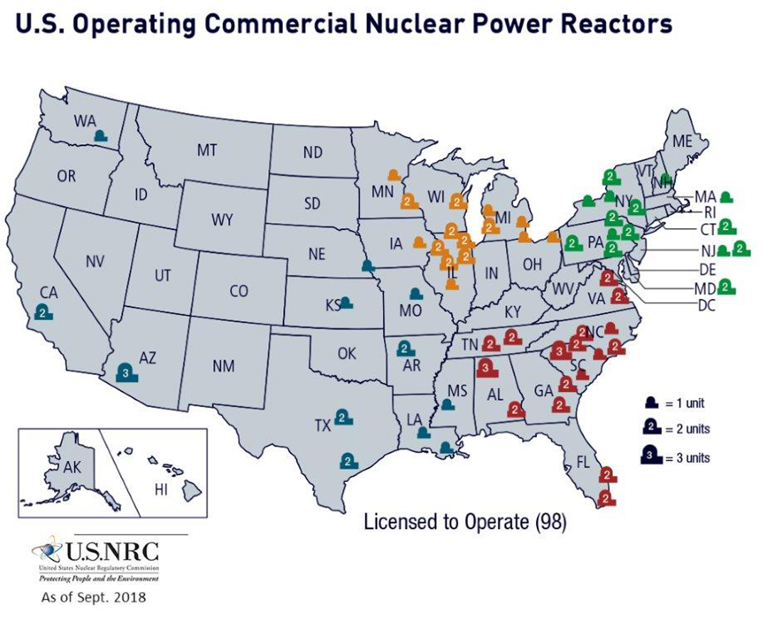 Nrc: Map Of Power Reactor Sites - Nuclear Power Plants In Texas Map