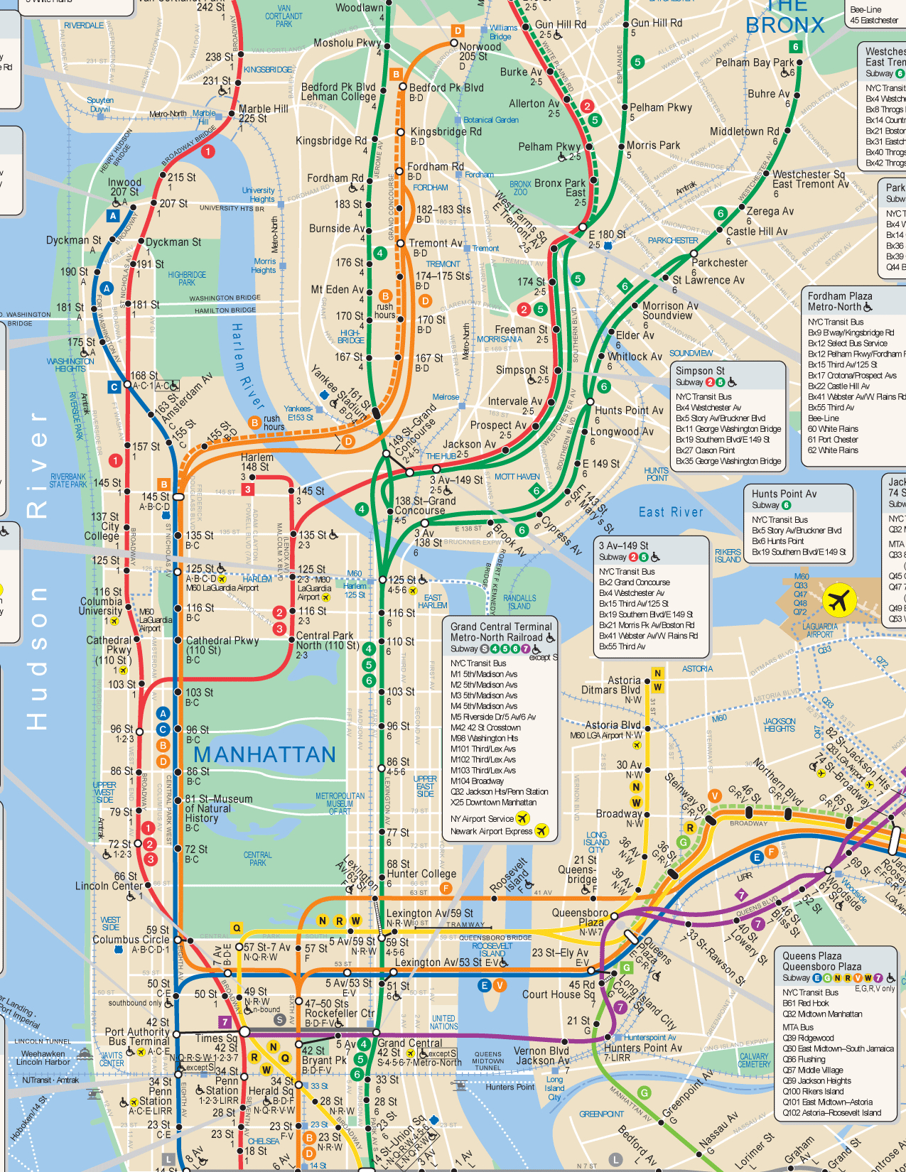 Nyc Subway Map Hi Res - Manhattan Subway Map Printable