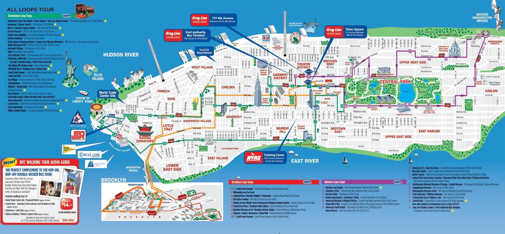 Nyc Walking Tourist Map - Nyc Walking Map Printable (New York - Usa) - Printable Walking Map Of Manhattan