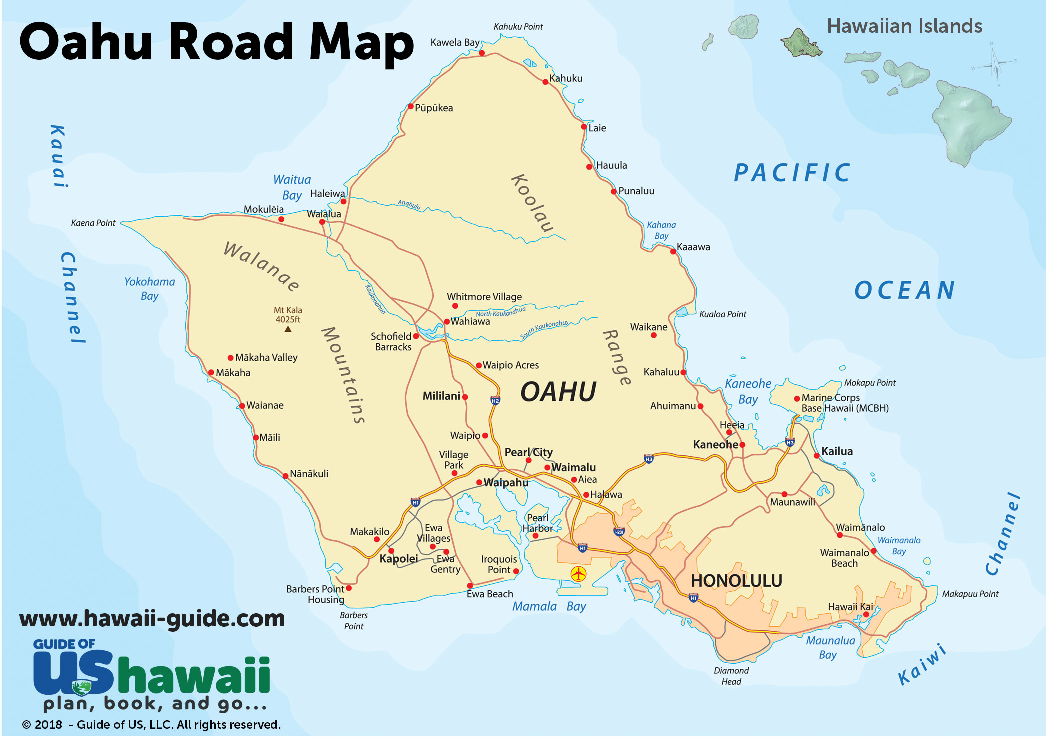 Oahu Maps - Printable Map Of Oahu Attractions