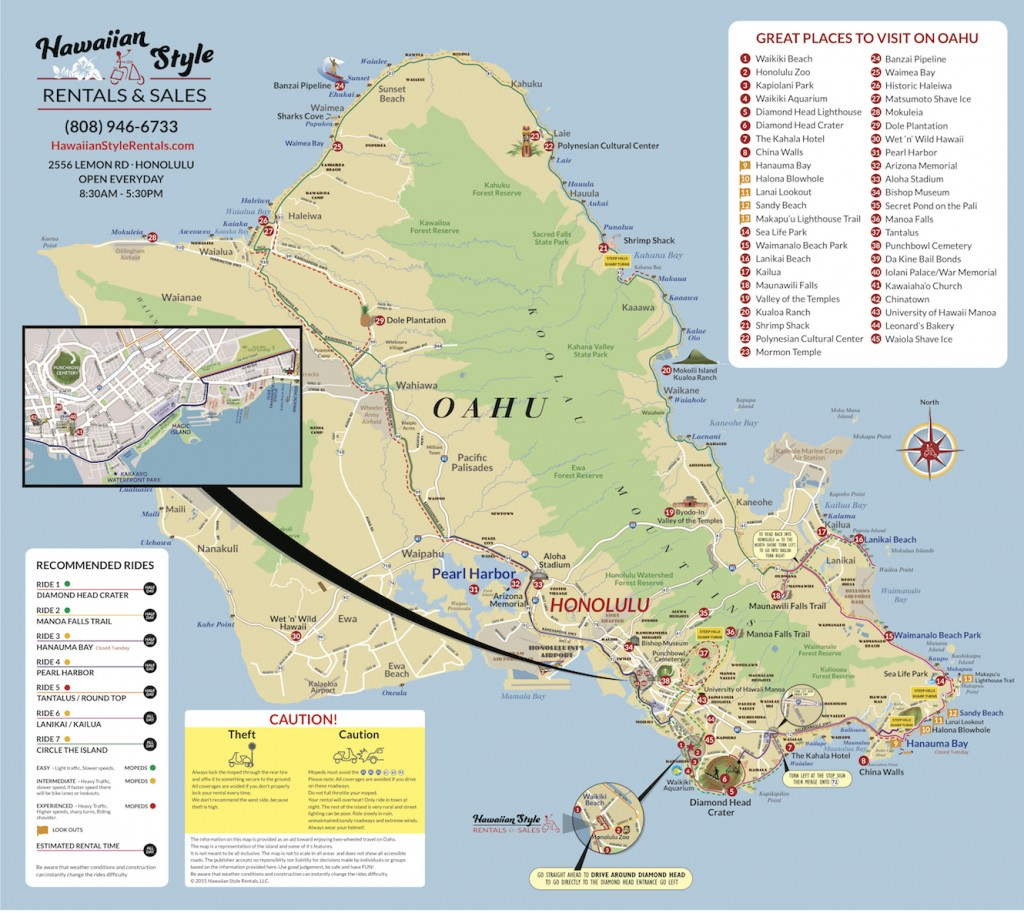 Oahu Moped Map-Hawaii Moped & Scooter Rental Tour Map - Oahu Map Printable