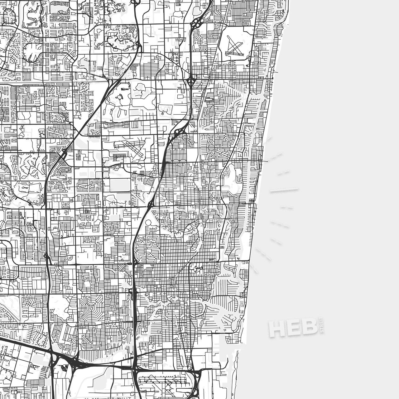 Oakland Park, Florida - Area Map - Light | Hebstreits - Oakland Park Florida Map