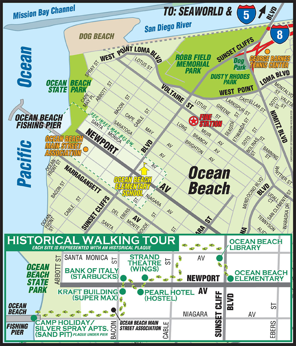 Ob Self-Guided Historic Walk | Ocean Beach San Diego Ca - Map Of Ocean Beach California