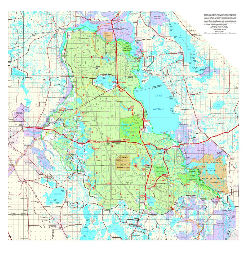 Ocala National Forest Visitor Map - Us Forest Service R8 - Avenza Maps - Where Is Ocala Florida On A Map