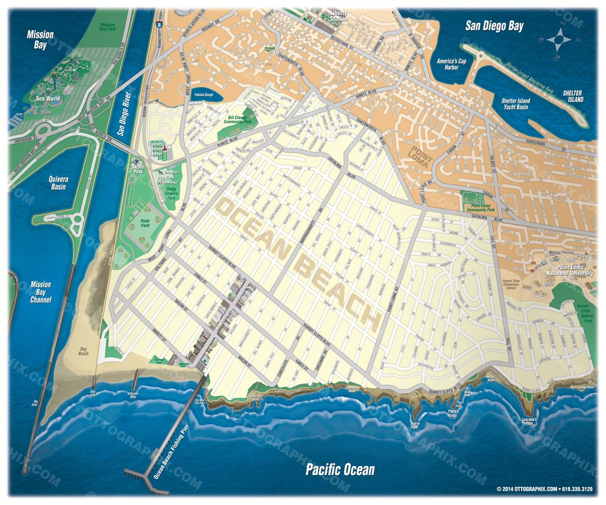 Ocean Beach Map Poster (Www.oceanbeachmap) | Cartography - Map - Map Of Ocean Beach California